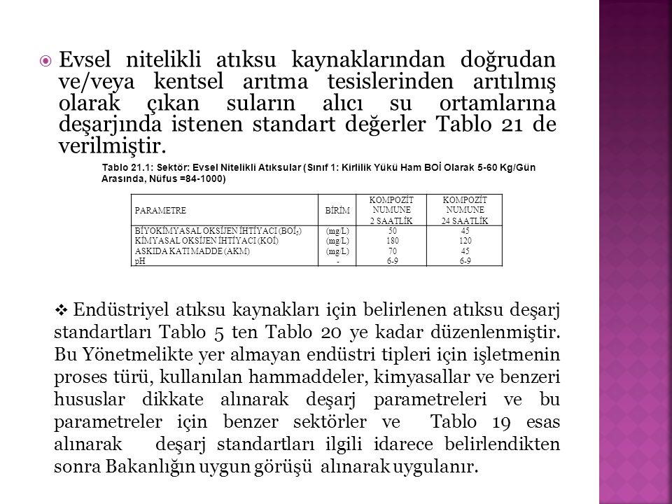 Evsel nitelikli atıksu kaynaklarından doğrudan ve/veya kentsel arıtma tesislerinden arıtılmış olarak çıkan suların alıcı su ortamlarına deşarjında istenen standart değerler Tablo 21 de verilmiştir.