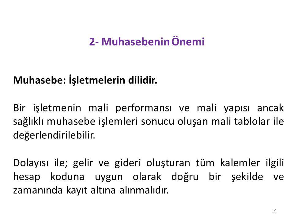 2- Muhasebenin Önemi Muhasebe: İşletmelerin dilidir.