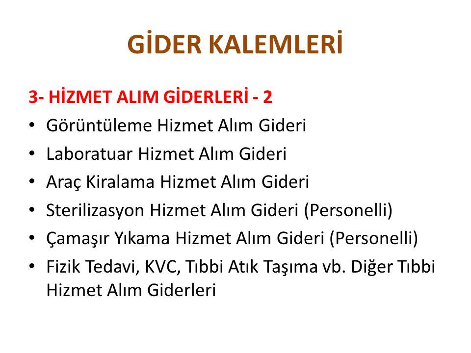 GİDER KALEMLERİ 3- HİZMET ALIM GİDERLERİ - 2
