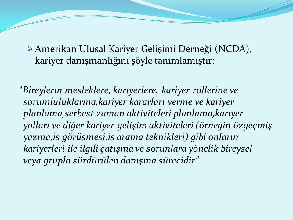 Amerikan Ulusal Kariyer Gelişimi Derneği (NCDA), kariyer danışmanlığını şöyle tanımlamıştır: