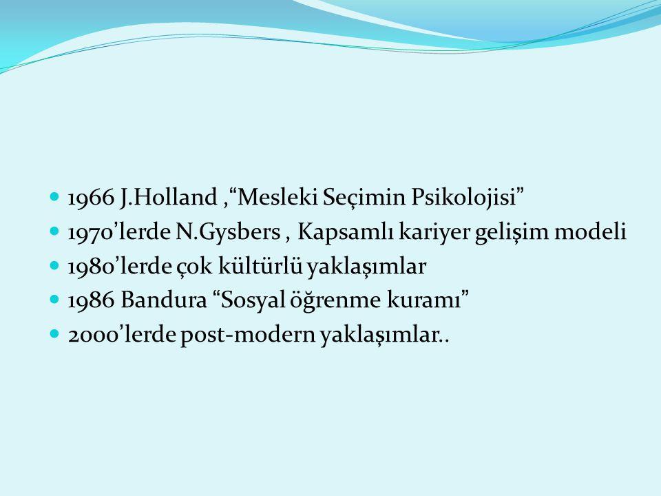 1966 J.Holland , Mesleki Seçimin Psikolojisi