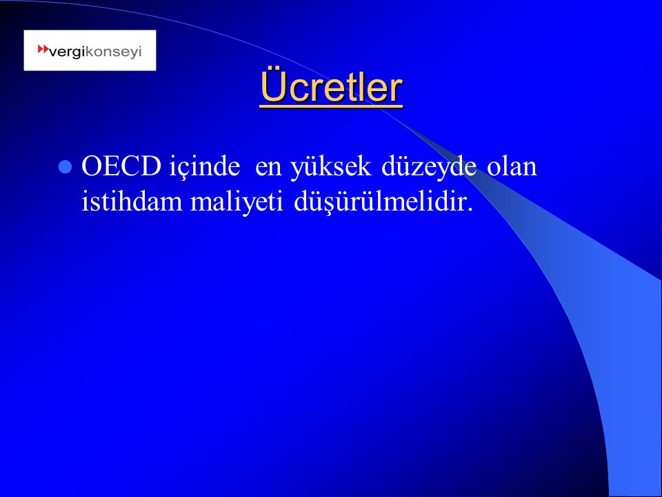 Ücretler OECD içinde en yüksek düzeyde olan istihdam maliyeti düşürülmelidir.