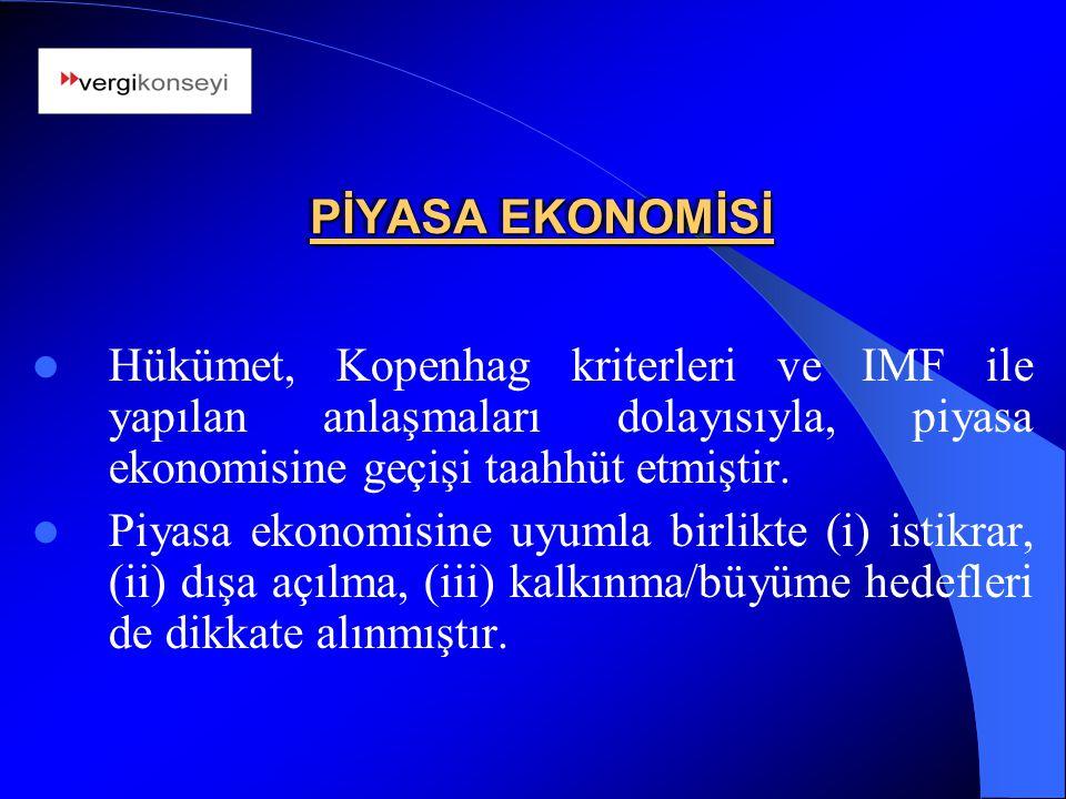 PİYASA EKONOMİSİ Hükümet, Kopenhag kriterleri ve IMF ile yapılan anlaşmaları dolayısıyla, piyasa ekonomisine geçişi taahhüt etmiştir.