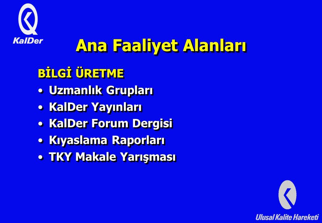 Ana Faaliyet Alanları BİLGİ ÜRETME Uzmanlık Grupları KalDer Yayınları