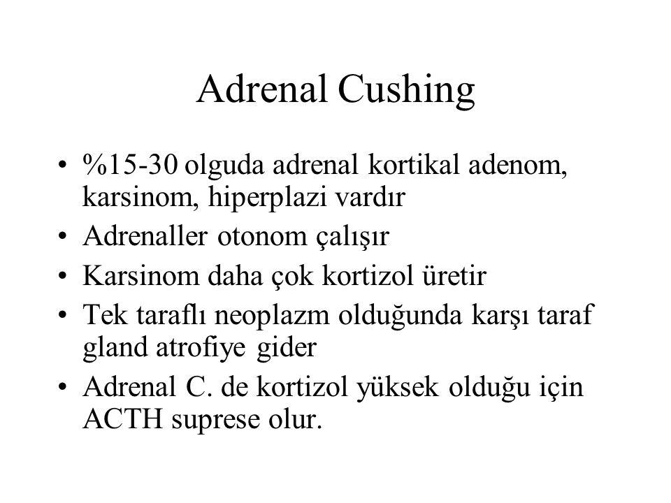 Adrenal Cushing %15-30 olguda adrenal kortikal adenom, karsinom, hiperplazi vardır. Adrenaller otonom çalışır.