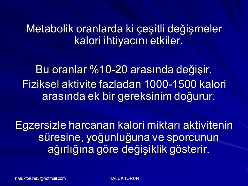 Metabolik oranlarda ki çeşitli değişmeler kalori ihtiyacını etkiler.