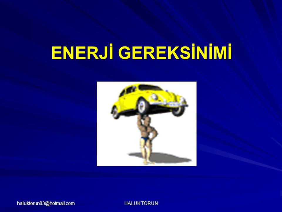 ENERJİ GEREKSİNİMİ haluktorun83@hotmail.com HALUK TORUN