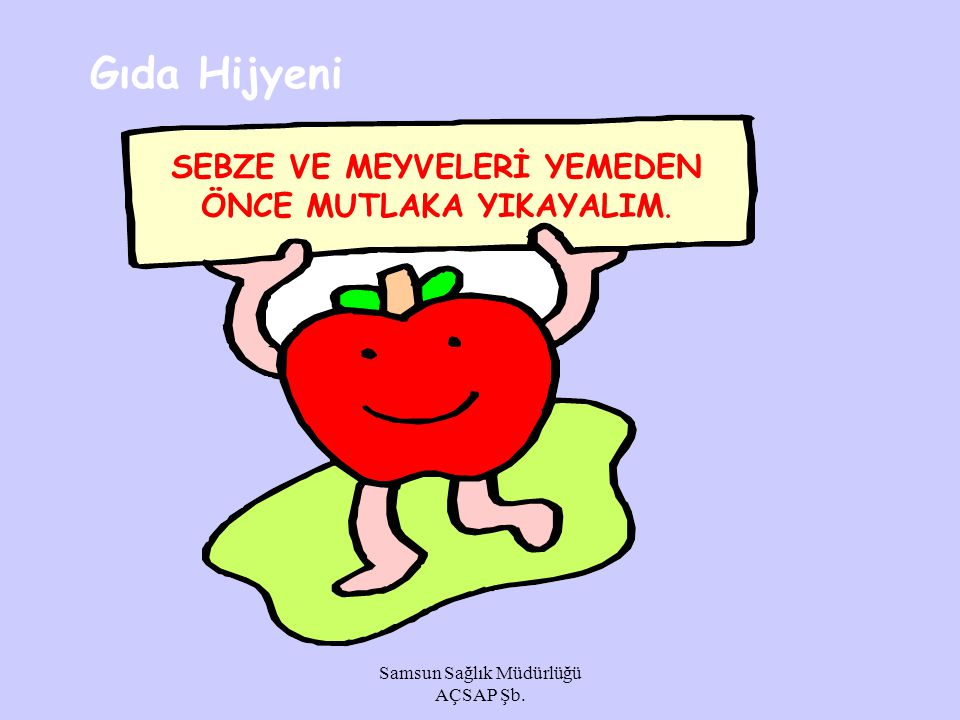 Gıda Hijyeni SEBZE VE MEYVELERİ YEMEDEN ÖNCE MUTLAKA YIKAYALIM.
