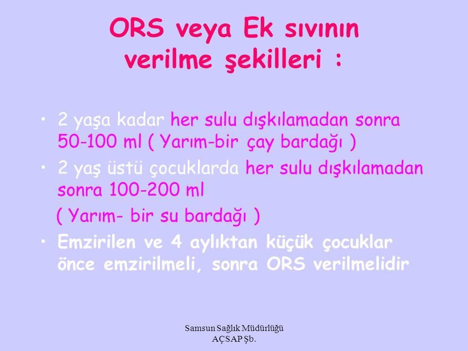 ORS veya Ek sıvının verilme şekilleri :
