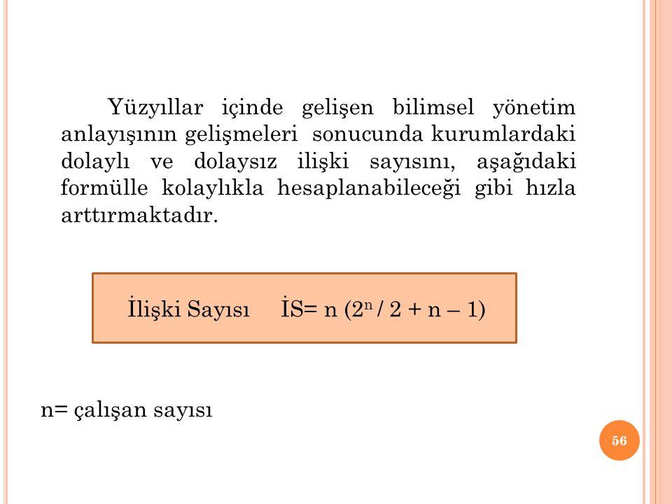 İlişki Sayısı İS= n (2n / 2 + n – 1)