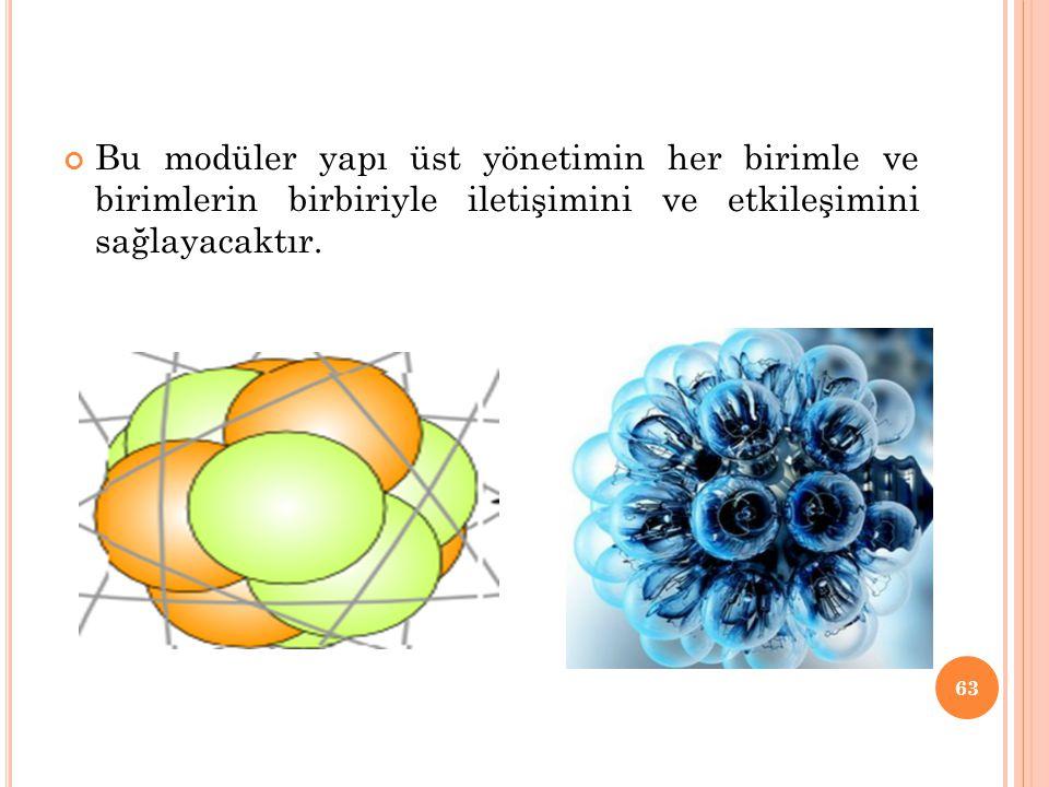 Bu modüler yapı üst yönetimin her birimle ve birimlerin birbiriyle iletişimini ve etkileşimini sağlayacaktır.