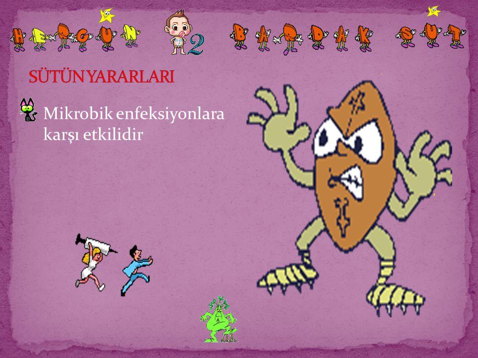 SÜTÜN YARARLARI Mikrobik enfeksiyonlara karşı etkilidir