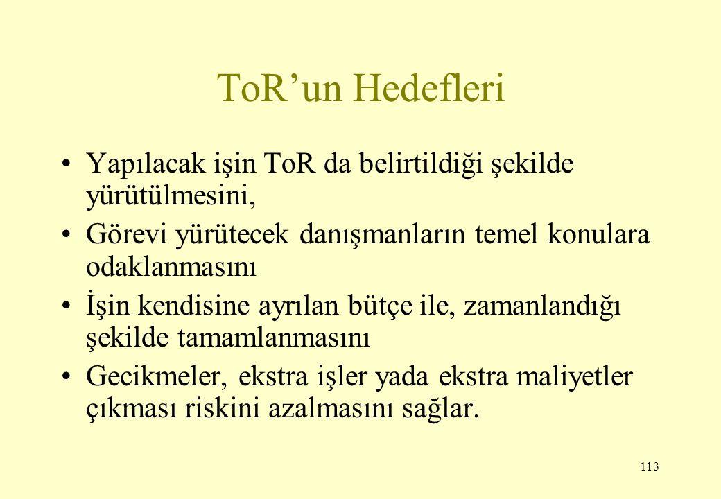 ToR'un Hedefleri Yapılacak işin ToR da belirtildiği şekilde yürütülmesini, Görevi yürütecek danışmanların temel konulara odaklanmasını.