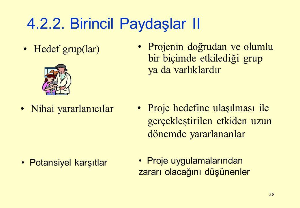 4.2.2. Birincil Paydaşlar II Projenin doğrudan ve olumlu bir biçimde etkilediği grup ya da varlıklardır.