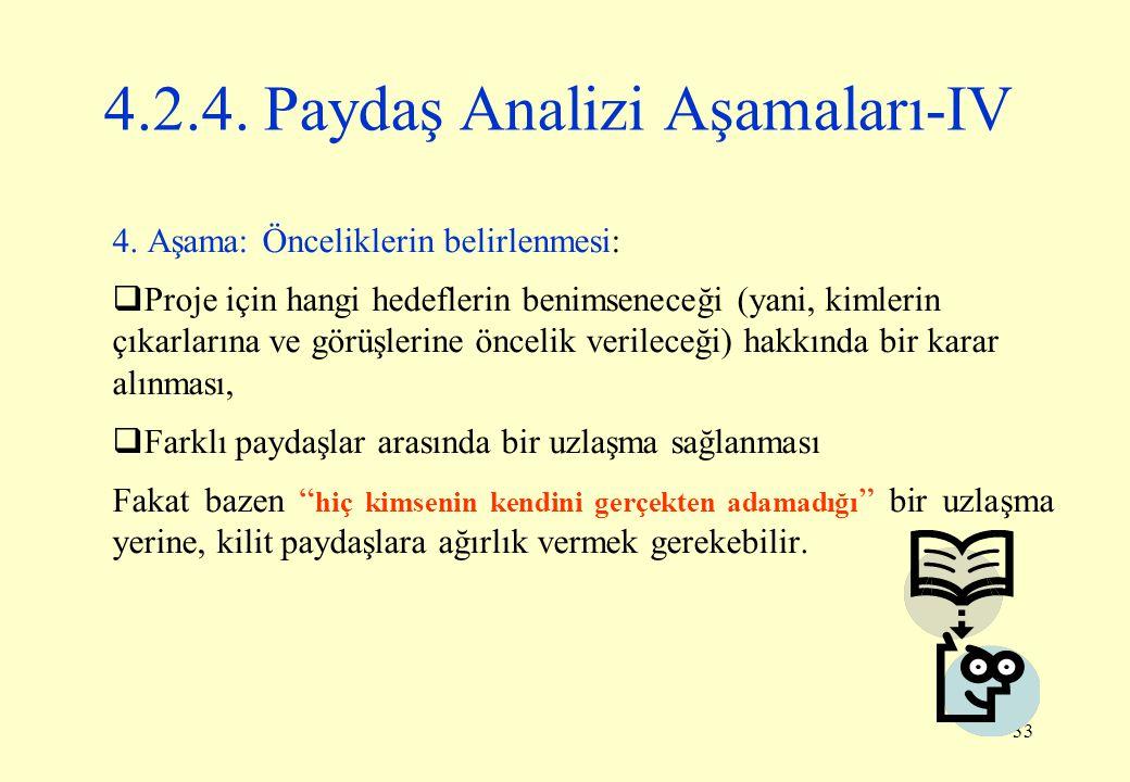 4.2.4. Paydaş Analizi Aşamaları-IV