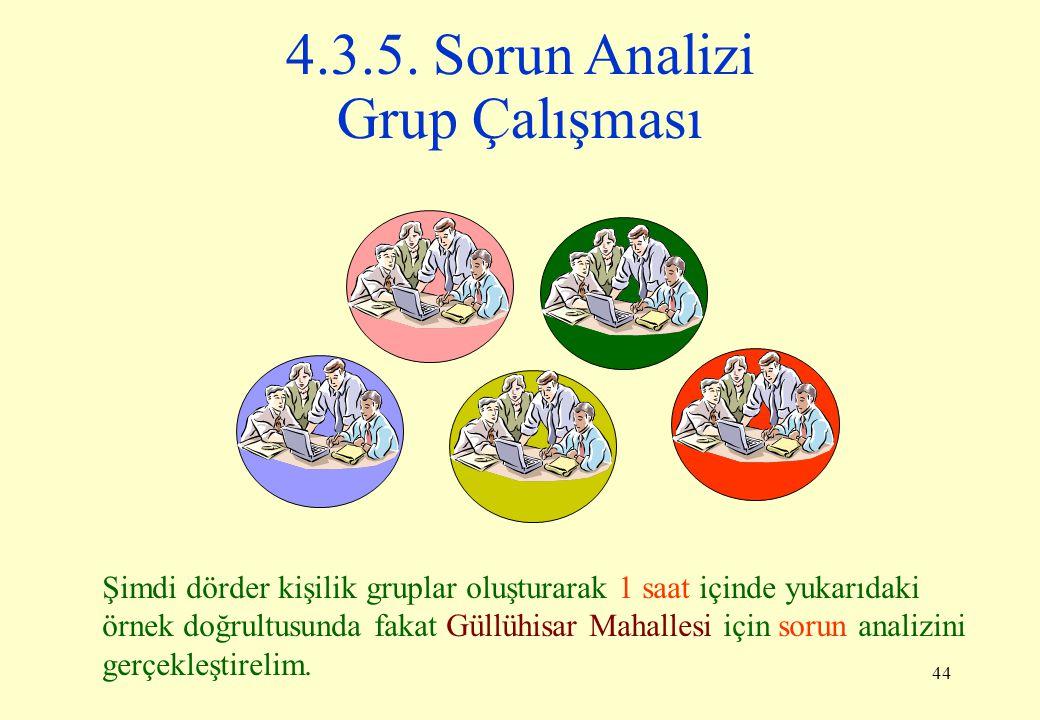 4.3.5. Sorun Analizi Grup Çalışması