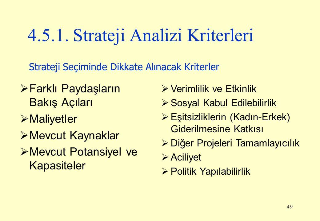 4.5.1. Strateji Analizi Kriterleri