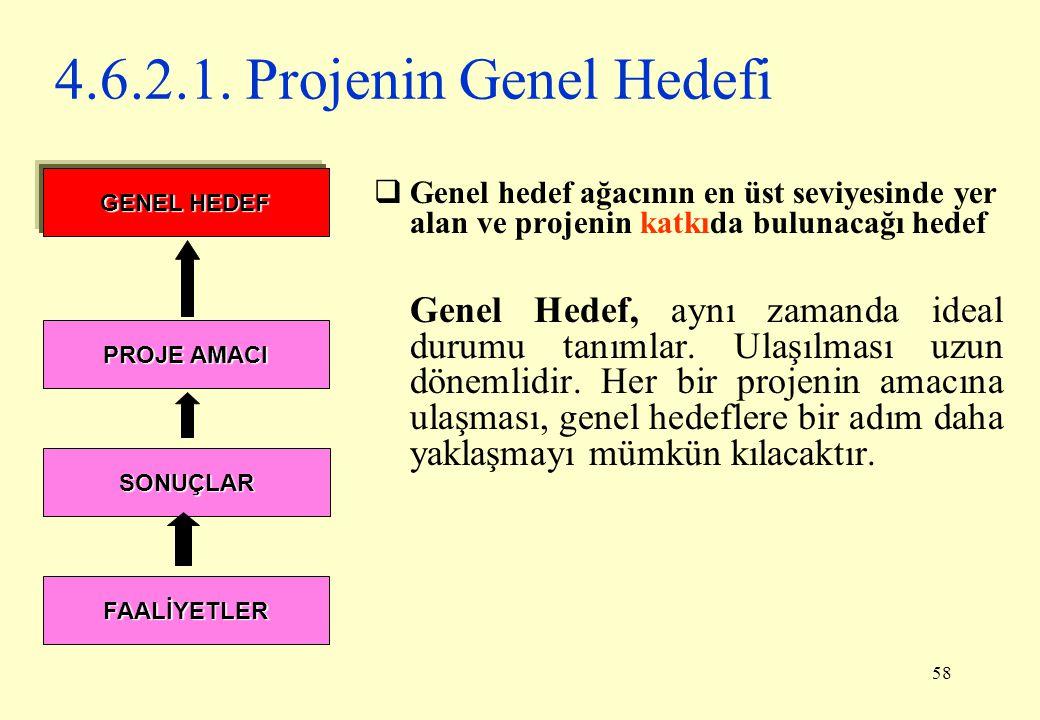 4.6.2.1. Projenin Genel Hedefi Genel hedef ağacının en üst seviyesinde yer alan ve projenin katkıda bulunacağı hedef.