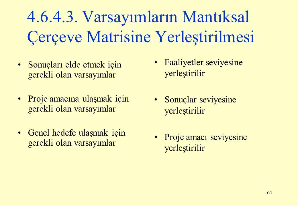 4.6.4.3. Varsayımların Mantıksal Çerçeve Matrisine Yerleştirilmesi