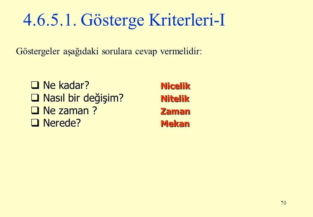 4.6.5.1. Gösterge Kriterleri-I