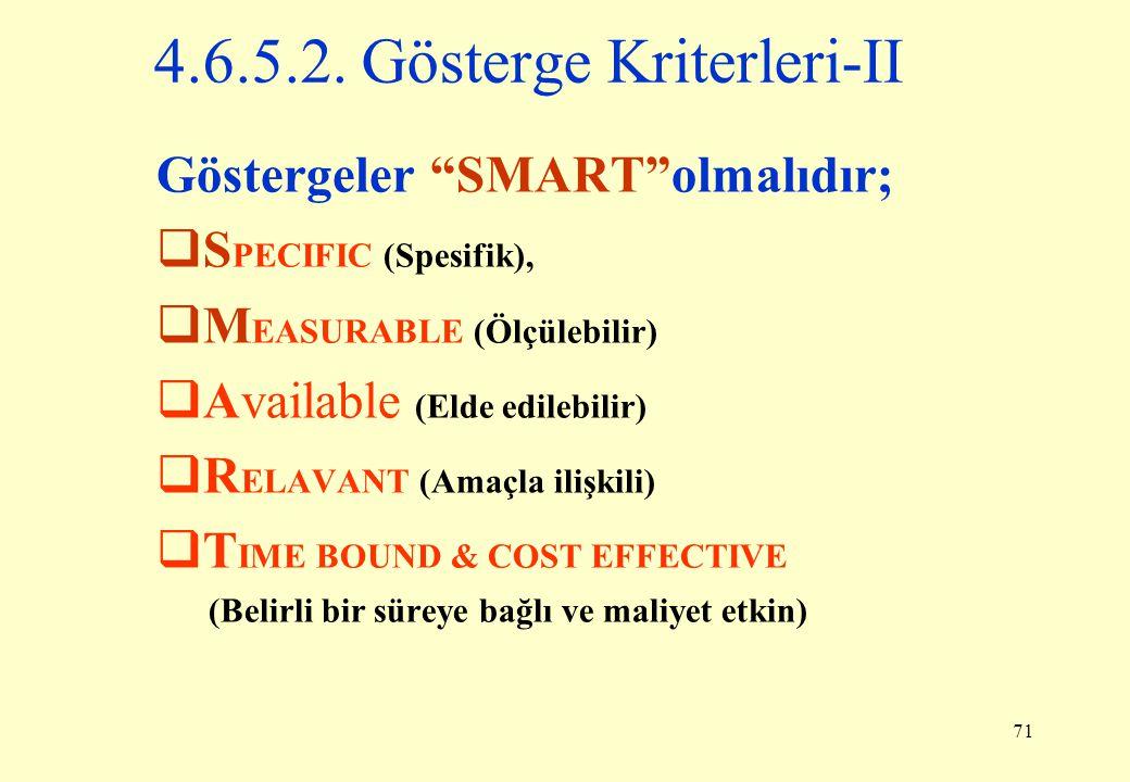 4.6.5.2. Gösterge Kriterleri-II