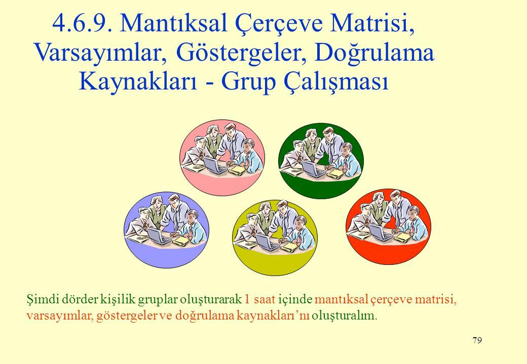 4.6.9. Mantıksal Çerçeve Matrisi, Varsayımlar, Göstergeler, Doğrulama Kaynakları - Grup Çalışması