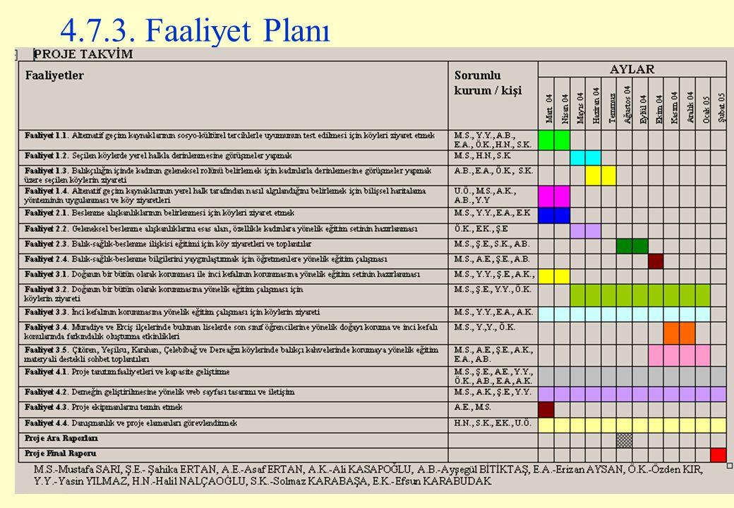 4.7.3. Faaliyet Planı
