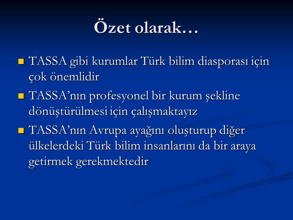 Özet olarak… TASSA gibi kurumlar Türk bilim diasporası için çok önemlidir. TASSA'nın profesyonel bir kurum şekline dönüştürülmesi için çalışmaktayız.