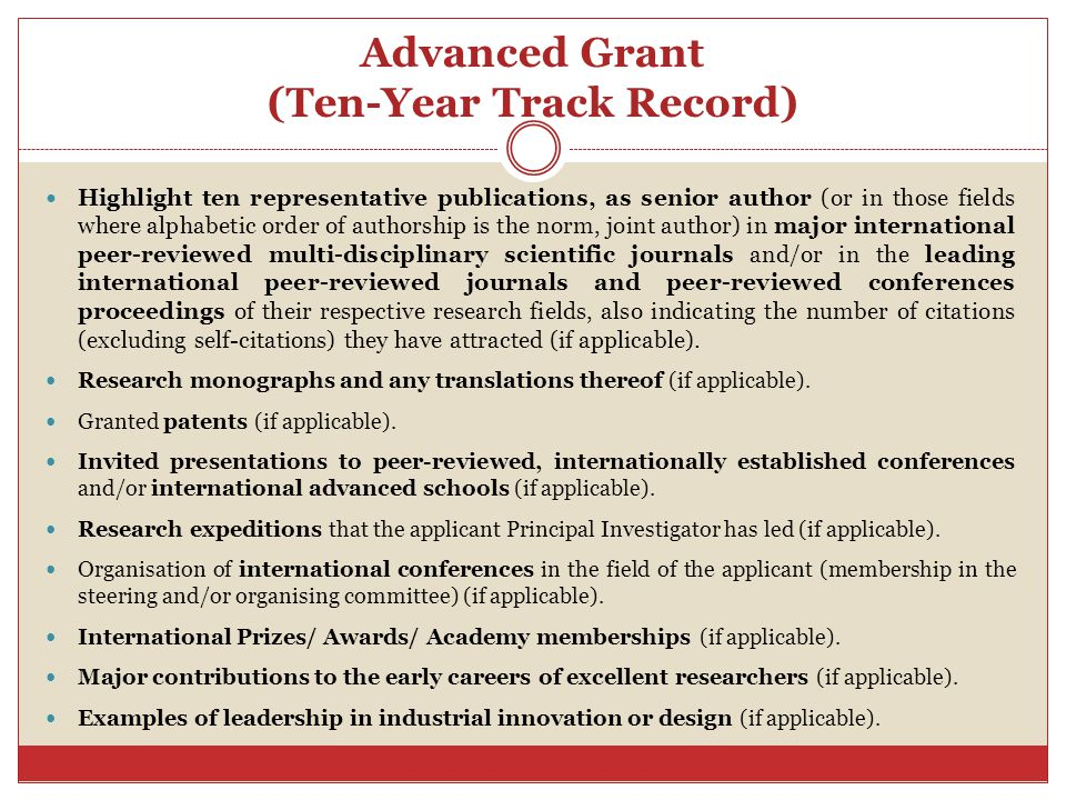 Advanced Grant (Ten-Year Track Record)