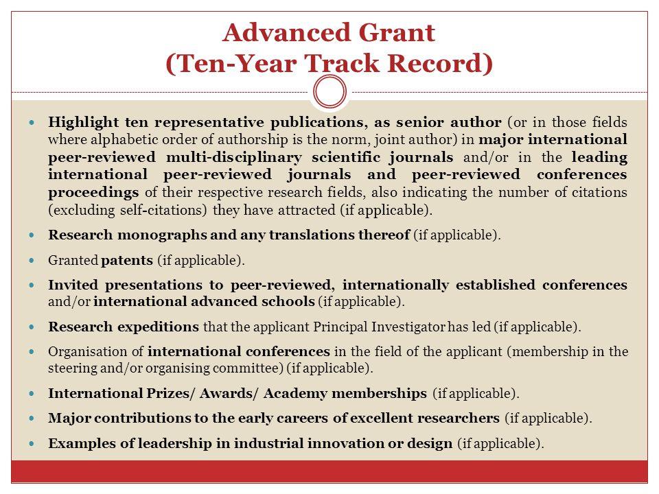 Advanced Grant (Ten-Year Track Record)