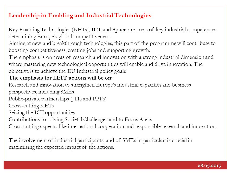 Leadership in Enabling and Industrial Technologies