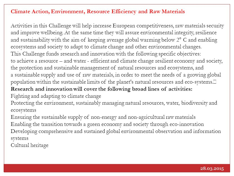 Climate Action, Environment, Resource Efficiency and Raw Materials