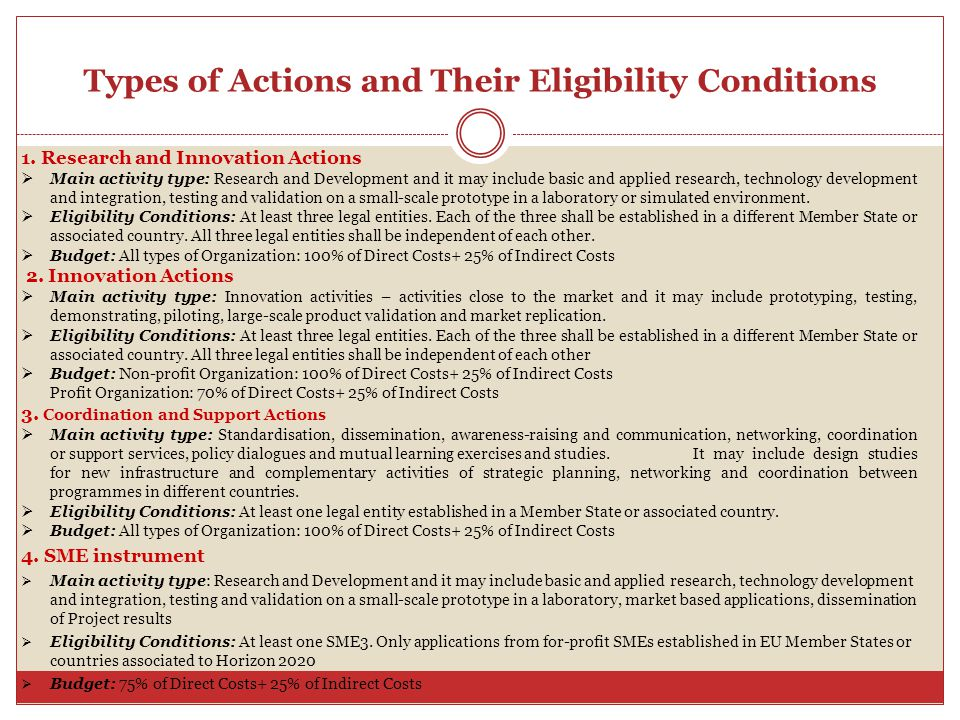 Types of Actions and Their Eligibility Conditions