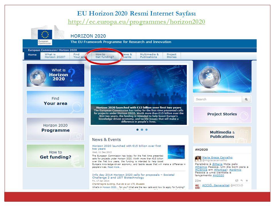 EU Horizon 2020 Resmi Internet Sayfası
