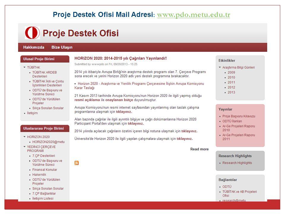 Proje Destek Ofisi Mail Adresi: www.pdo.metu.edu.tr