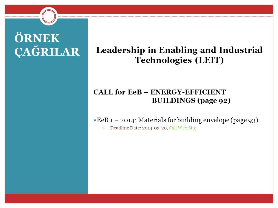 Leadership in Enabling and Industrial Technologies (LEIT)