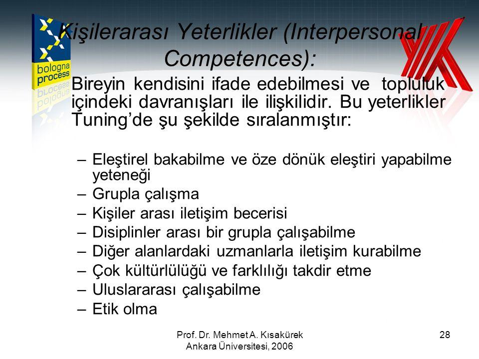 Kişilerarası Yeterlikler (Interpersonal Competences):