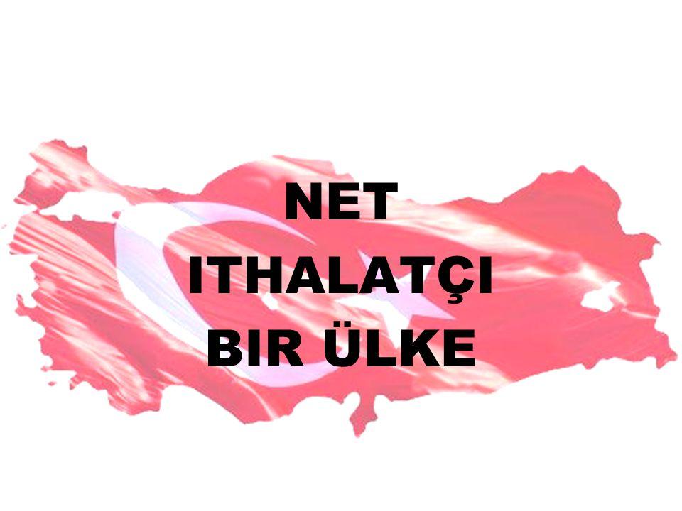 NET ITHALATÇI BIR ÜLKE