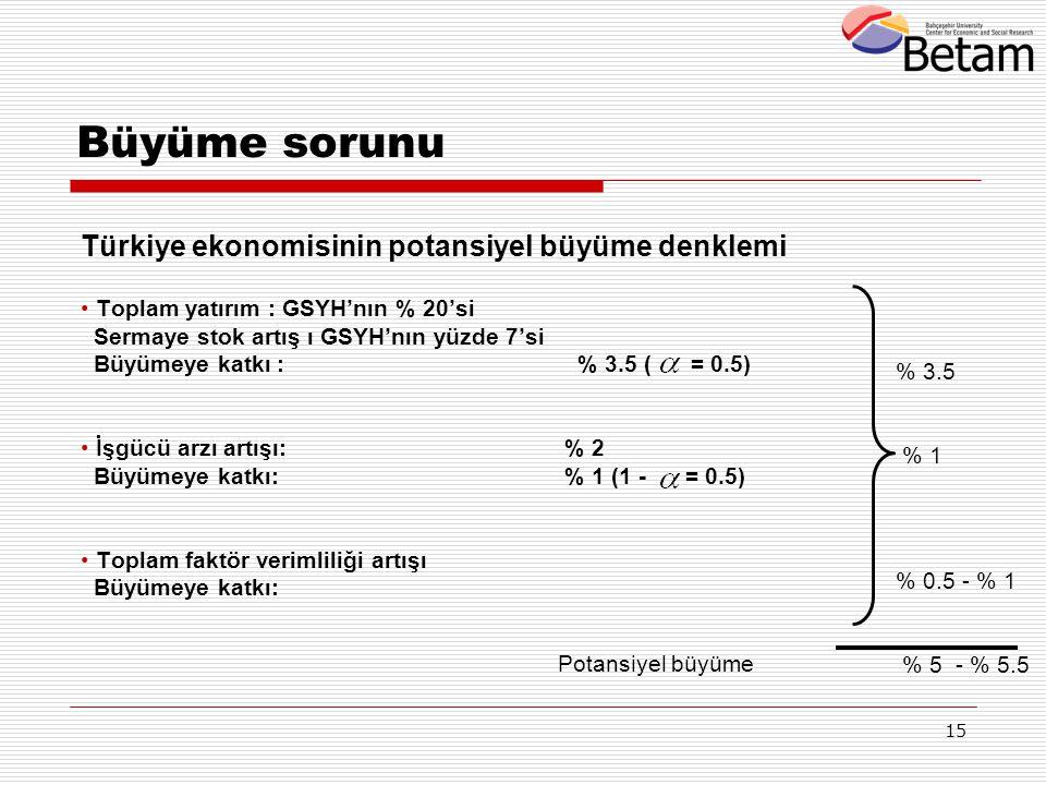 Büyüme sorunu Türkiye ekonomisinin potansiyel büyüme denklemi