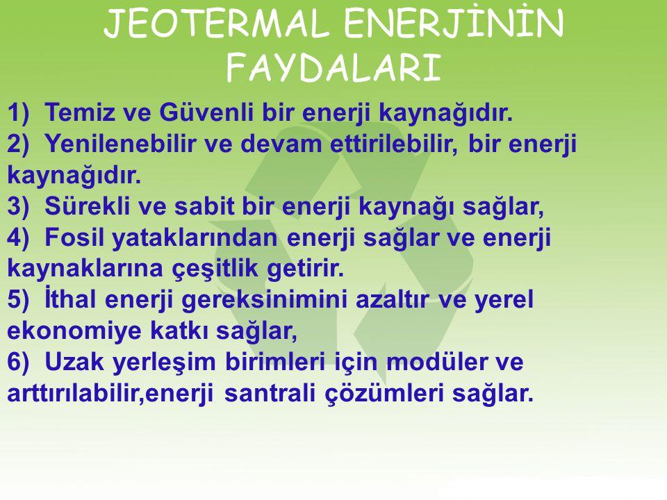 JEOTERMAL ENERJİNİN FAYDALARI