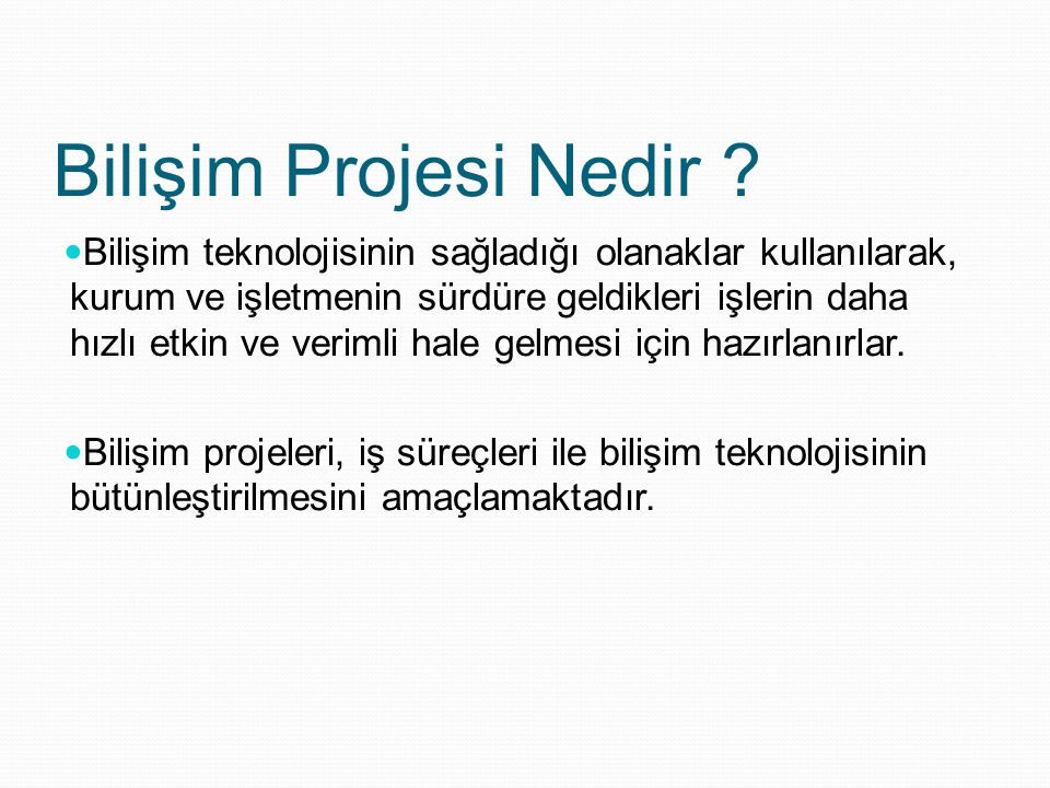 Bilişim Projesi Nedir