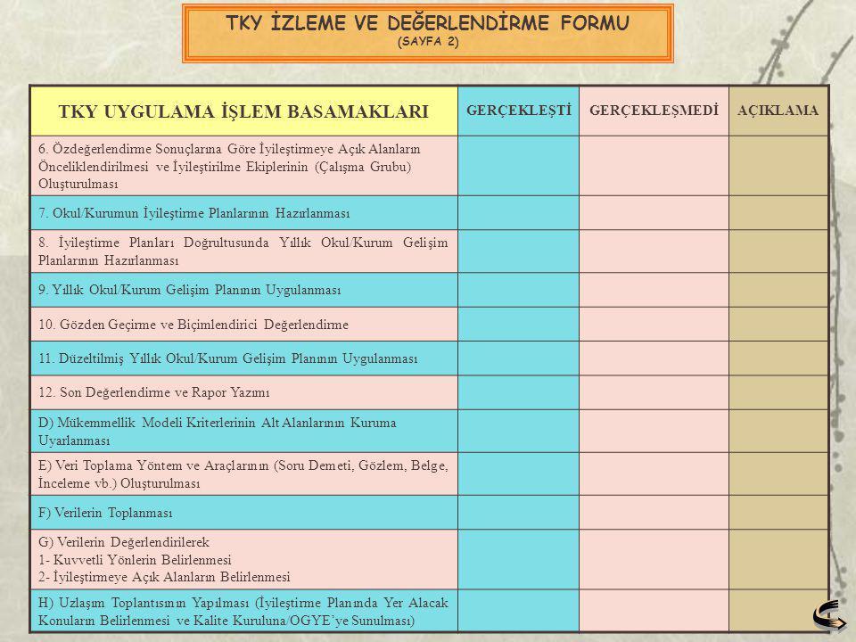 TKY İZLEME VE DEĞERLENDİRME FORMU (SAYFA 2)