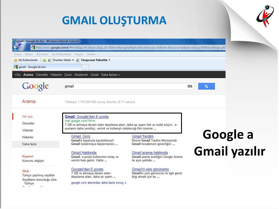 GMAIL OLUŞTURMA Google a Gmail yazılır
