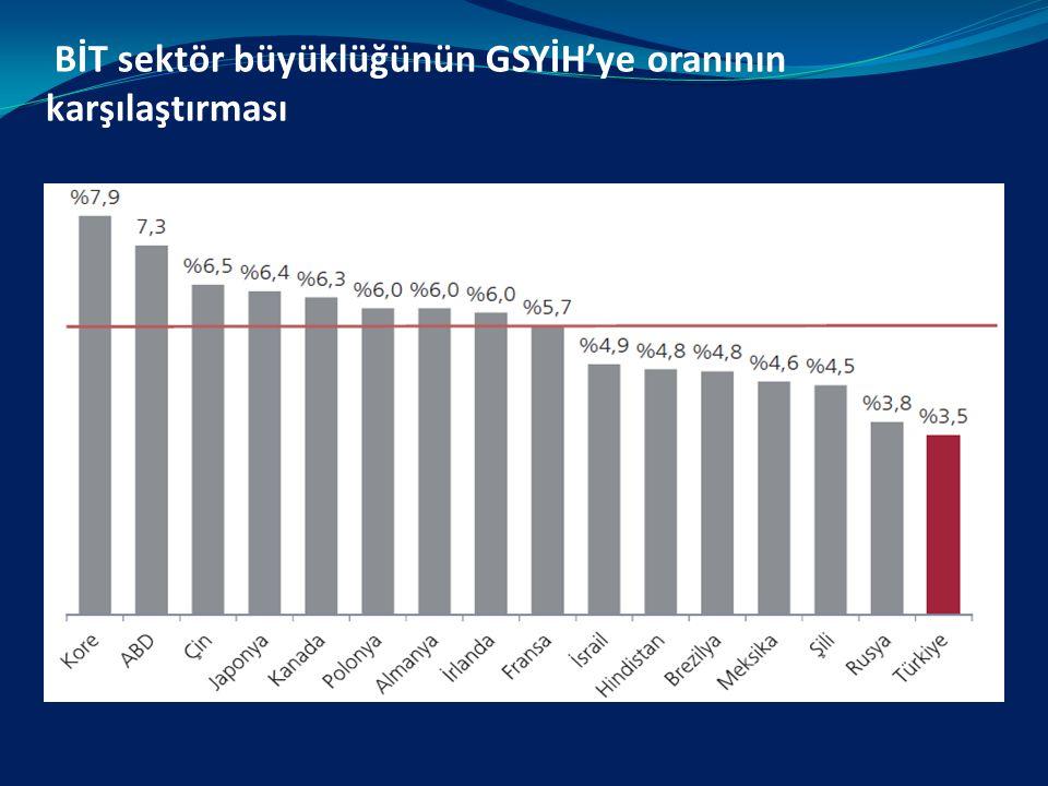 BİT sektör büyüklüğünün GSYİH'ye oranının karşılaştırması