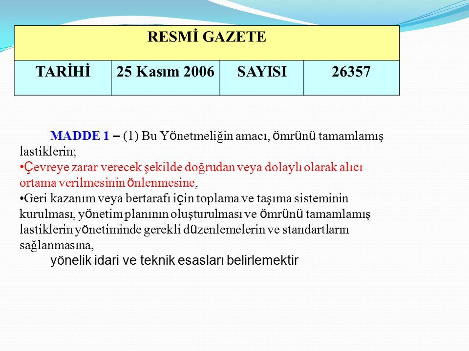 RESMİ GAZETE TARİHİ 25 Kasım 2006 SAYISI 26357