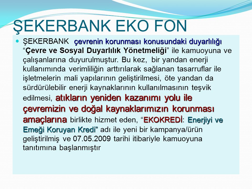 ŞEKERBANK EKO FON