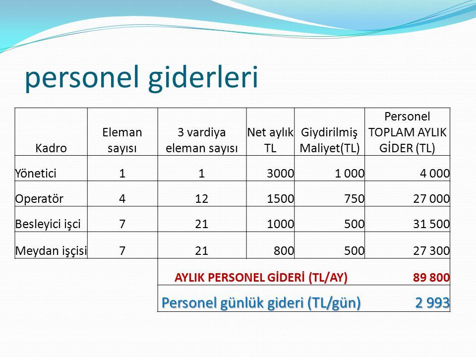 AYLIK PERSONEL GİDERİ (TL/AY)