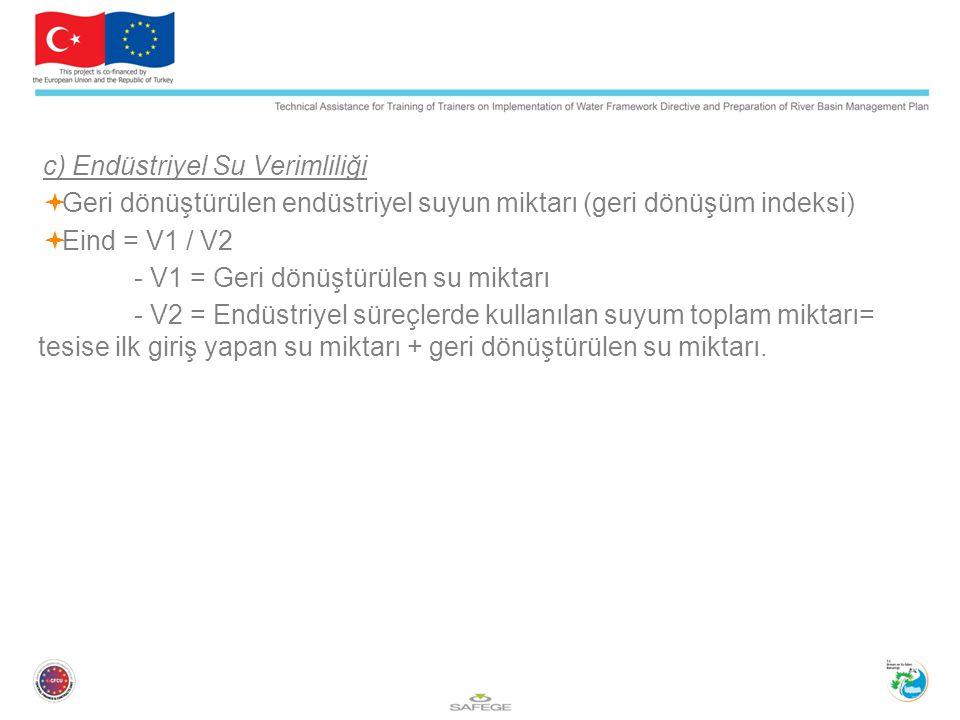 c) Endüstriyel Su Verimliliği