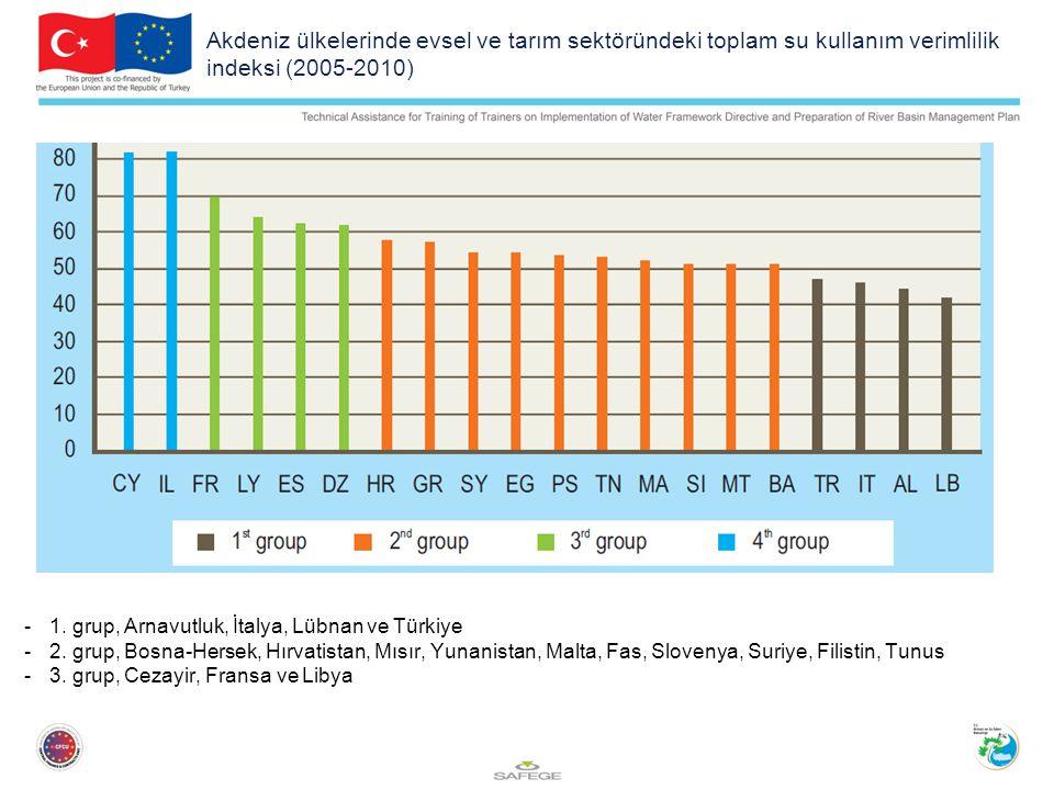 Akdeniz ülkelerinde evsel ve tarım sektöründeki toplam su kullanım verimlilik indeksi (2005-2010)