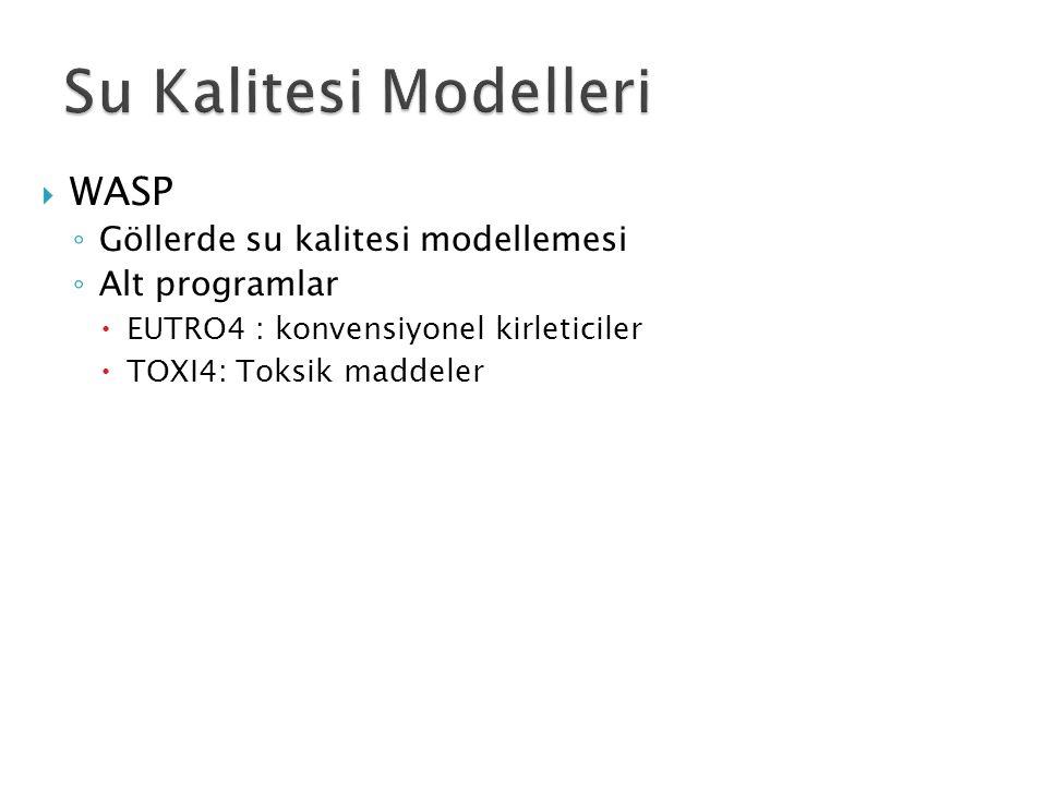 Su Kalitesi Modelleri WASP Göllerde su kalitesi modellemesi